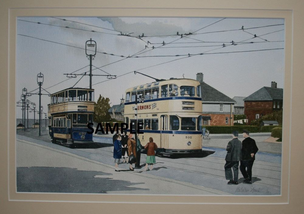 """Print 3: Sheffield Street Scene : Two Sheffield Cars No's 497 and 510 on the """"Prince of Wales Road"""". All prints are signed by the artist. The print is currently available at the price of £22 (unmounted). Prints will be sent carefully packed into strong cardboard tube. Postage & Packing charges are £4.00 per order (Limited to 4 prints per tube). To order please go to the """"Shop"""" page. Print size mounted is 50 x 40 cms"""