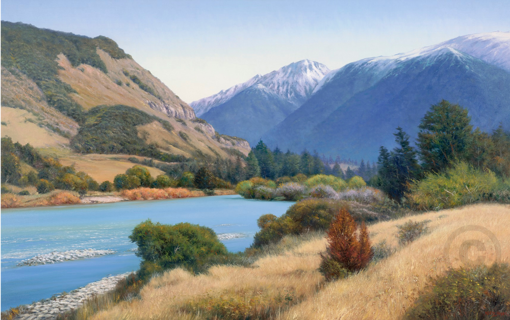 Glacial River Waiau River New Zealand Oil Painting Giclee Print