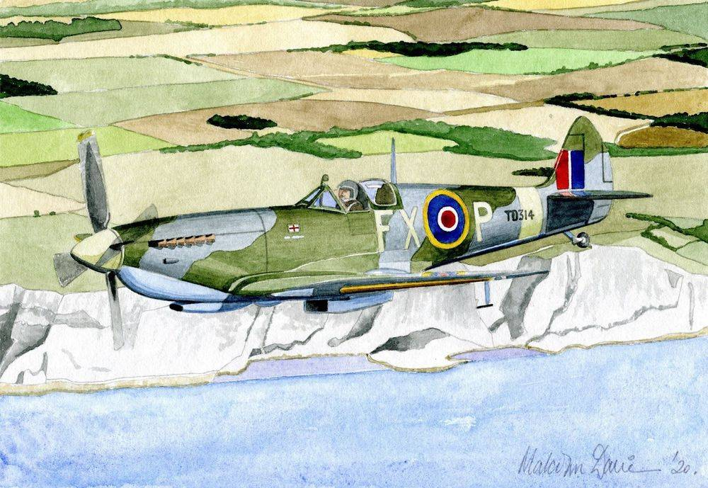 Spitfire over the White Cliffs of Dover (Watercolour) : SOLD