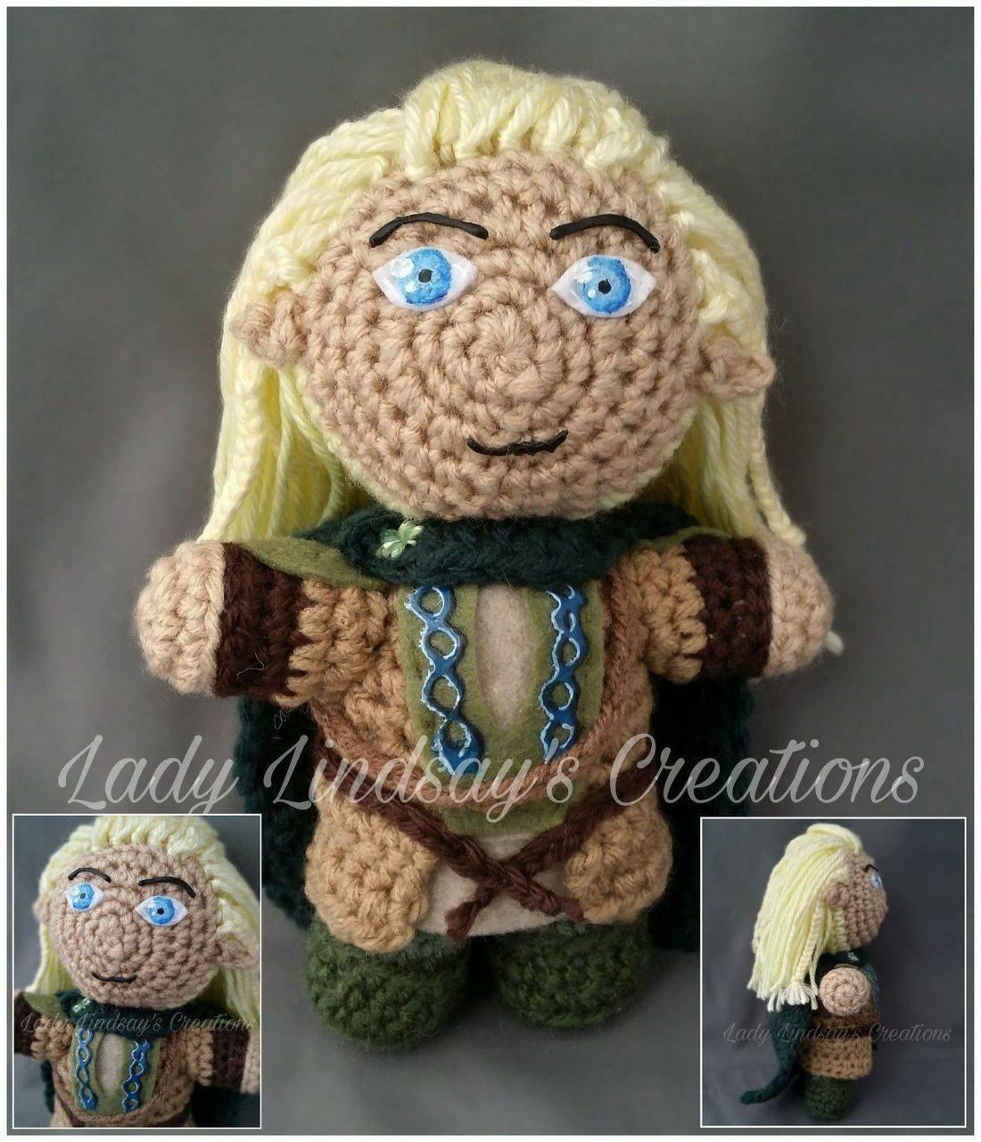 Legolas, Elf, Elve, amigurumi, Lord of the Rings, The Hobbit, plush, doll, crochet, knit, shop small, handmade, handcraft, craft, art, paint, artisan, nerd, geek, otaku, fantasy, anime, kawaii