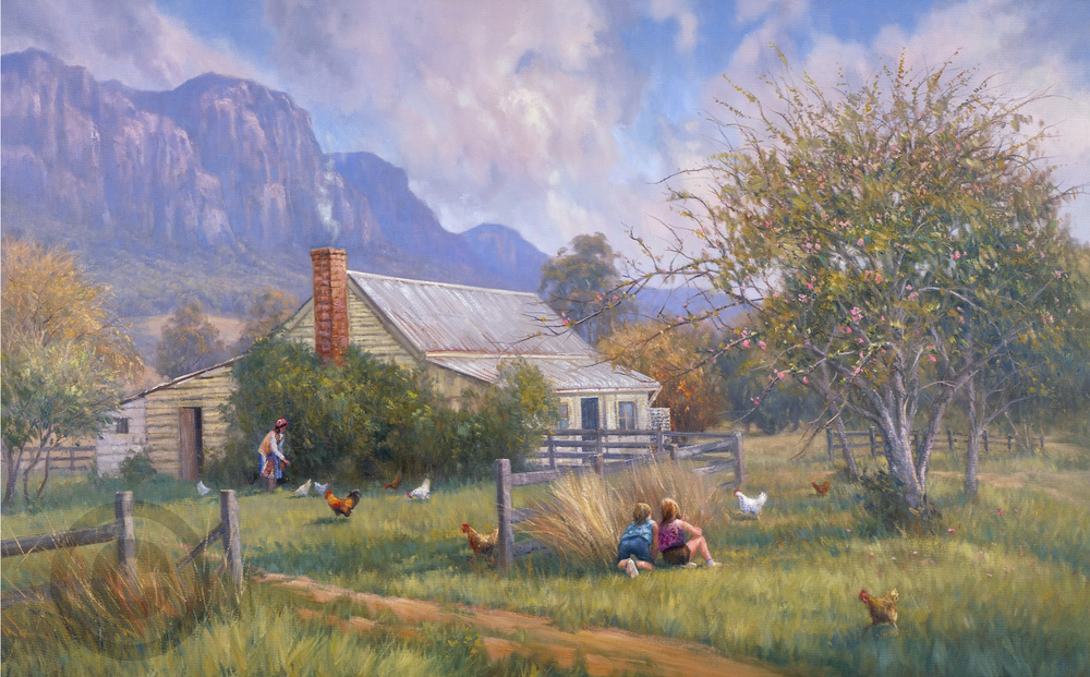 Cottage Spring Blossoms Children Chickens Grandmother Oil Painting Giclee Print