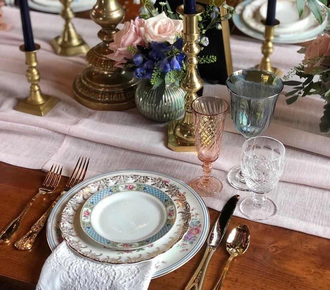 mismatched vintage china nj vintage goblets nj Colored goblets NJ vintage china rental NJ