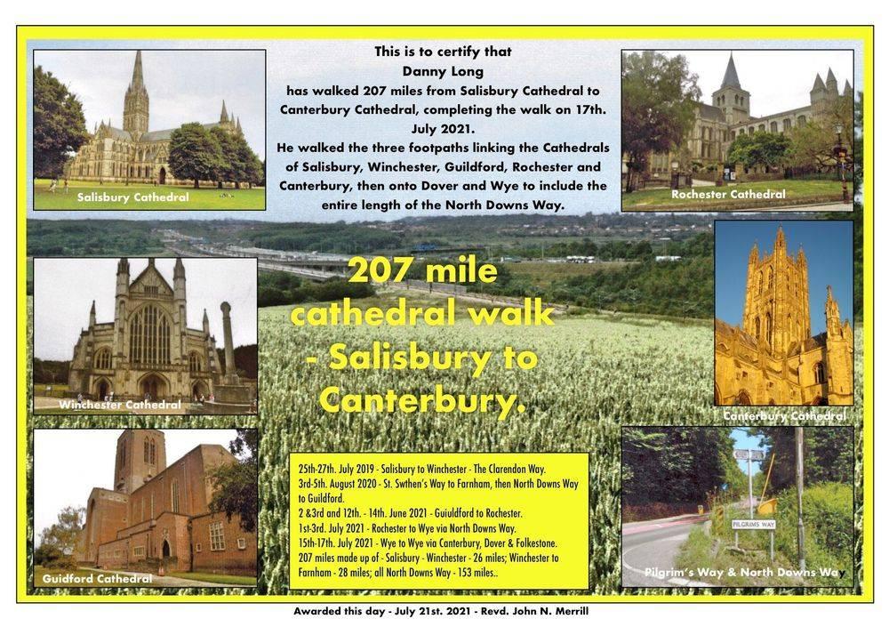 Salisbury to Canterbury Cathedral walk.