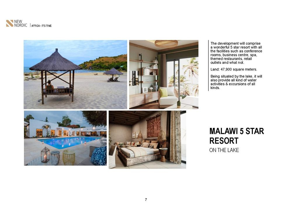 malawi 5 star resort in the lake ,salima lakefront malawi, kamuzu international airport , british & far east traders & partners, new nordic africa, african investments