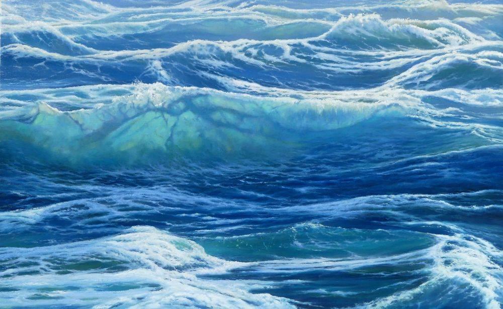 Ocean Swell Waves Oceanart Oil Painting Blue