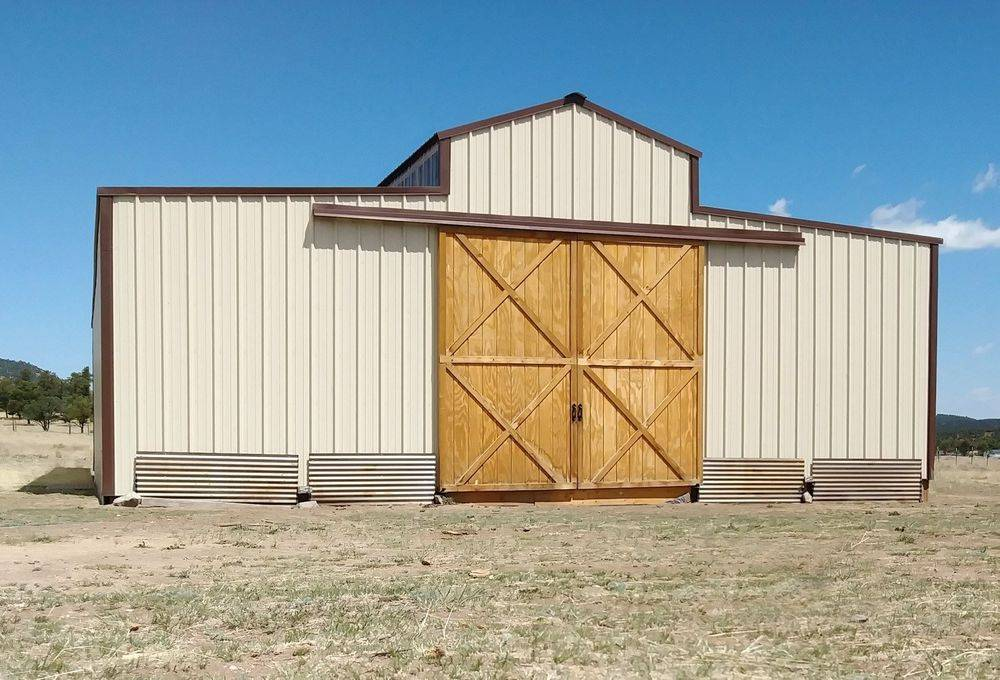 Pole Barn with wood sliding front doors