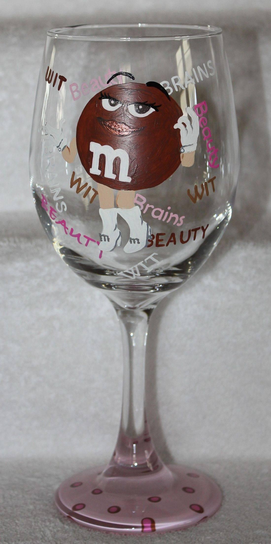 m&m wine glass, ms brown wine glass