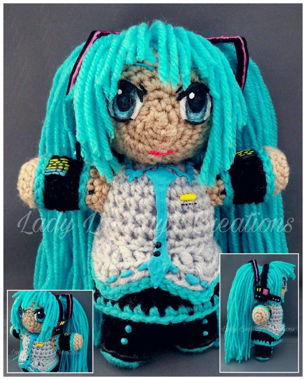 Hatsune Miku, Vocaloid, Anime, Kawaii, Otaku, Nerd, Geek, EDM, PLUR, Amigurumi, crochet, plush, handmade, Etsy