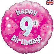 9th birthday balloon in a box delivered - pink