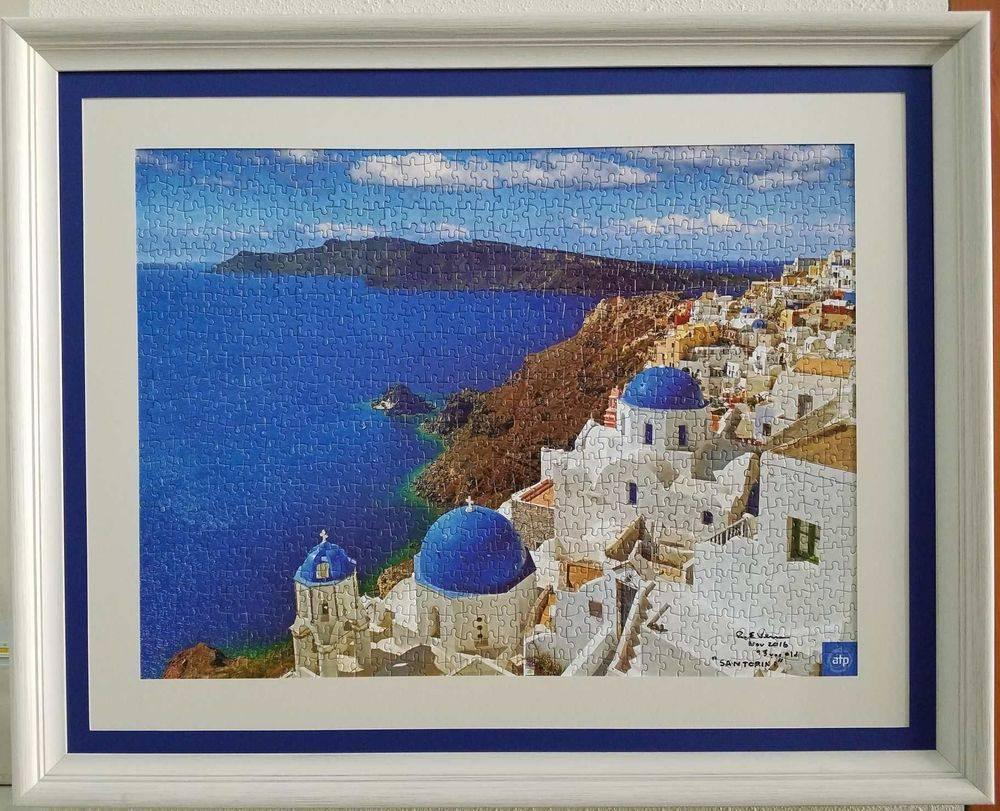 Custom framed puzzle of Santorini