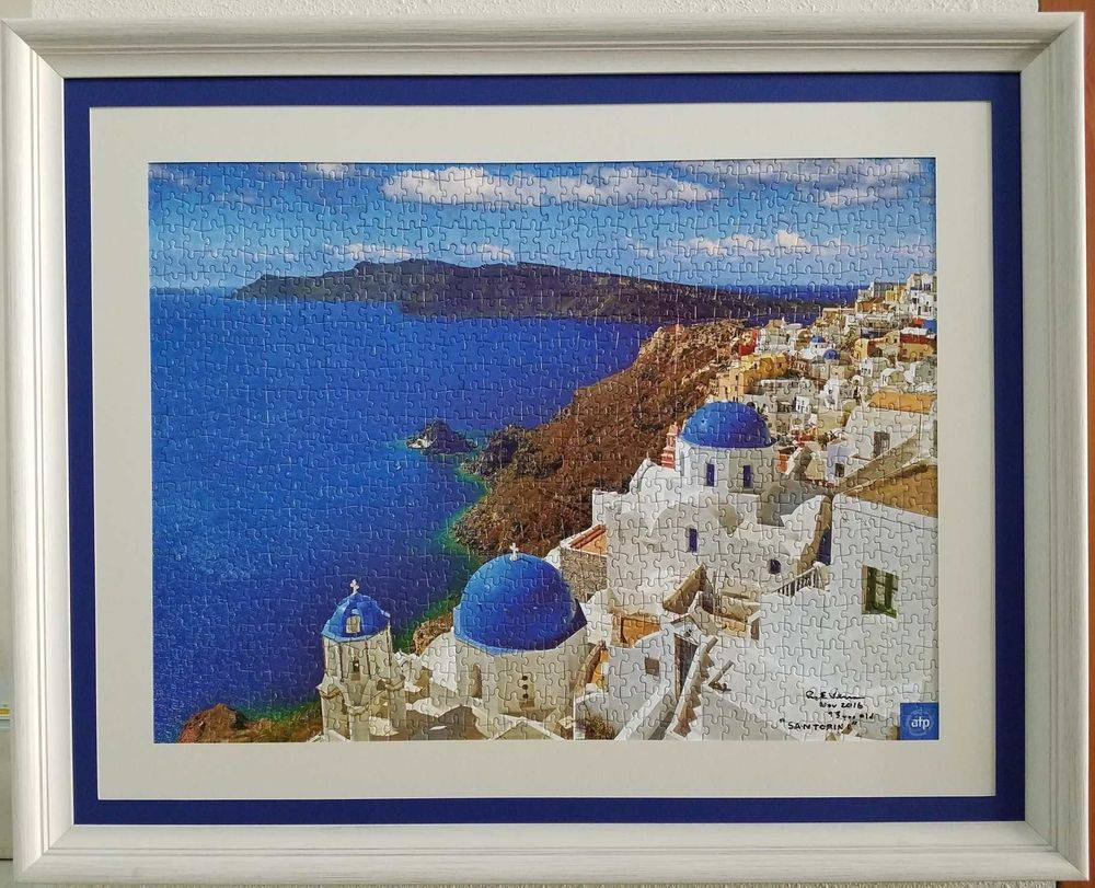 Custom framed puzzle of Santorini
