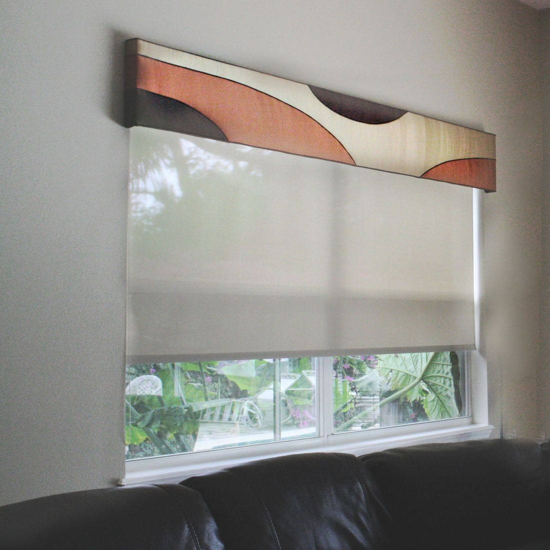 Motorized shades, designer cornice