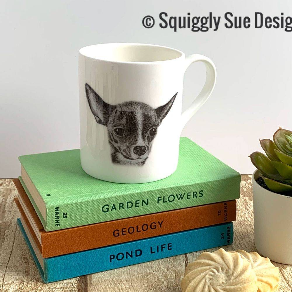 Chihuahua dog Mug Cup from pen & ink sketch