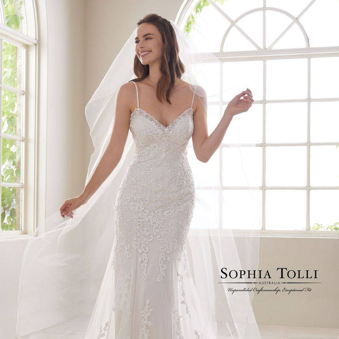 sophia tolli, sophia tolli wedding dress, lace wedding dress, wedding dress with criss cross back, spaghetti straps, sparkle, sexy back, dipped back, sweetheart neck, fitted wedding dress,