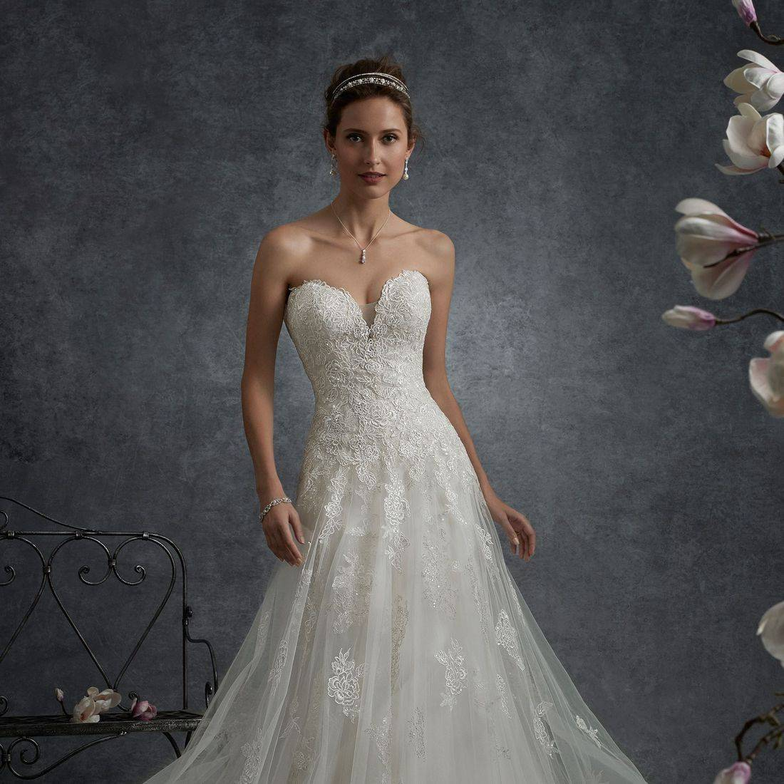 sophia tolli wedding dress, sophia tolli, aline wedding dress, sequin beaded lace wedding dress, deep sweetheart neckline wedding dress, flowy wedding dress, flattering wedding dress, lace up back wedding dress, corset back wedding dress