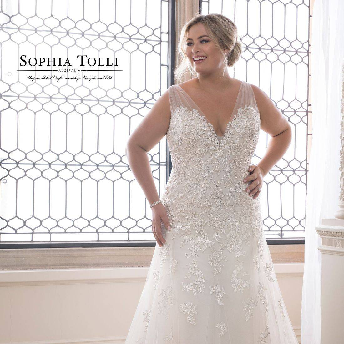plus size, plus size wedding dress, sophia tolli, sophia tolli wedding dress, trumpet wedding dress, sweetheart neck, sparkle, fitted wedding dress, chapel train, lace, dipped neck,