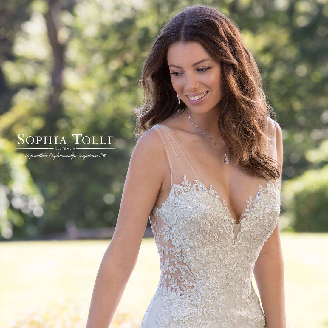 sophia tolli, sophia tolli wedding dress, trumpet wedding dress, sweetheart neck, sparkle, fitted wedding dress, chapel train, lace, dipped neck,