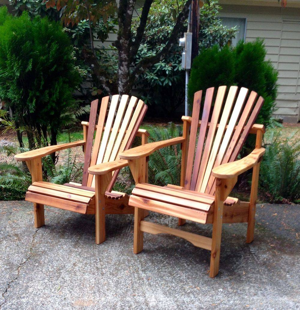 Classic Cedar Adirondack Chairs with matching Cedar Table. Handcrafted by Utopia Woodcrafters.