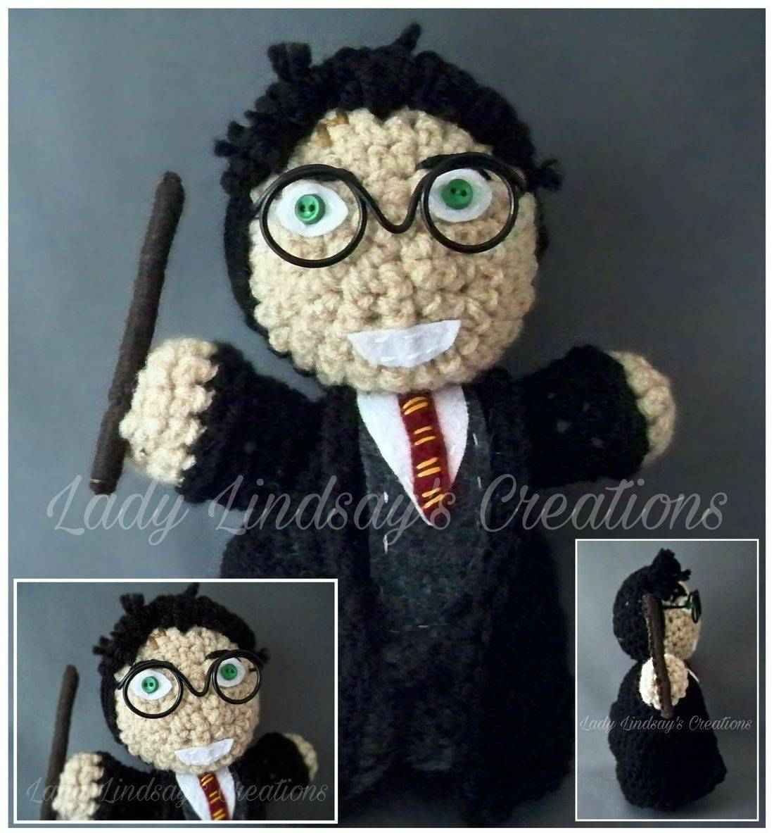 Harry Potter,  The Boy Who Lived, Witch, Wizard, Amigurumi, Plush, Crochet, handmade, Shop Small, Etsy, nerd, geek, kawaii, otaku, anime, fantasy, Magic, handmade