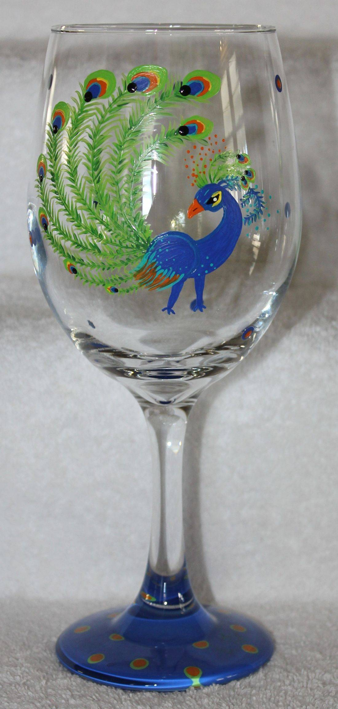 peacock wine glass