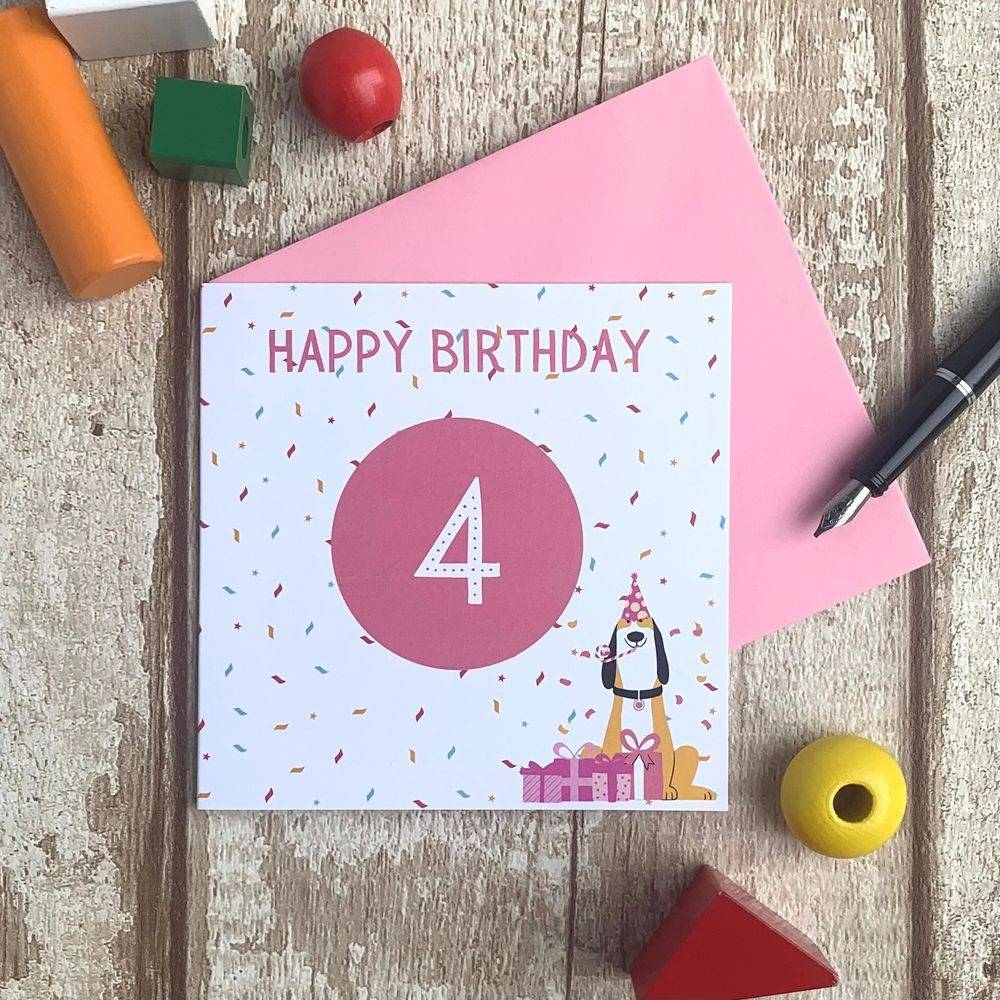 Fourth 4th birthday card pink dog