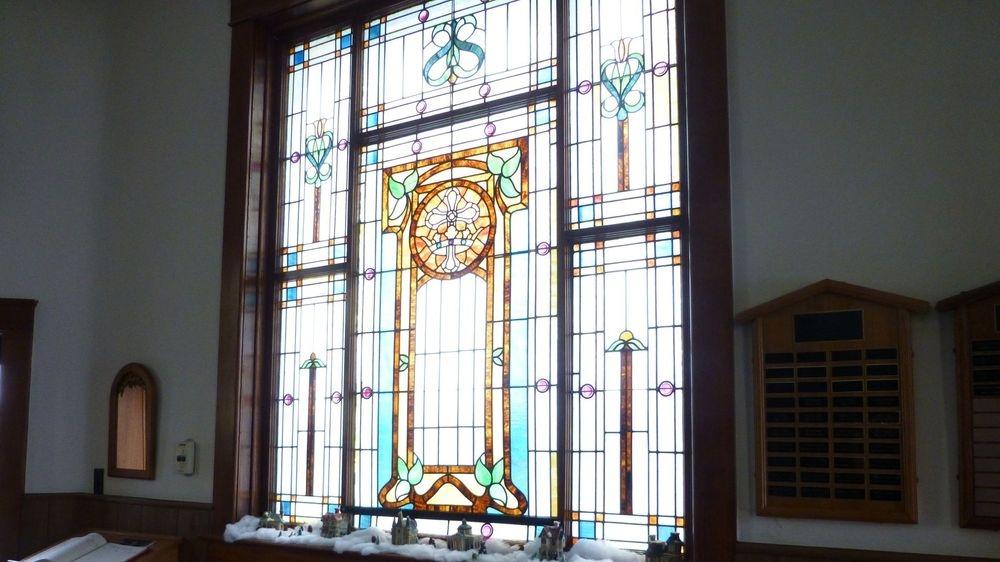 Brooker Baptist stain glass windows