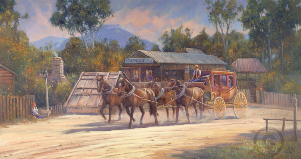 Stage Coach Cobb and Co Oil Painting Giclee Print