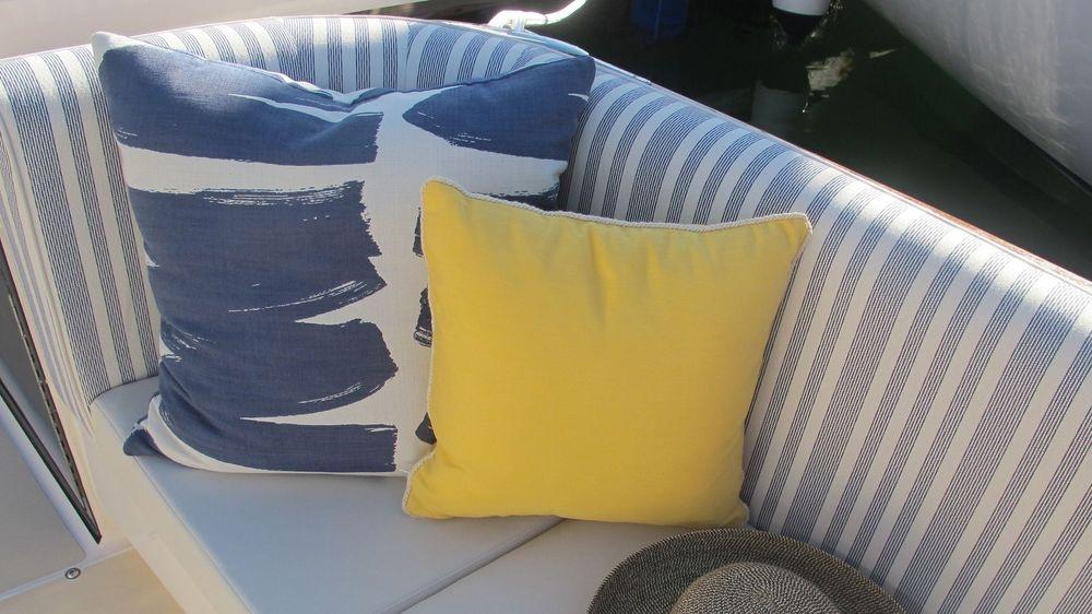 Newport Yacht Interiors, True North yachts, outdoor pillows