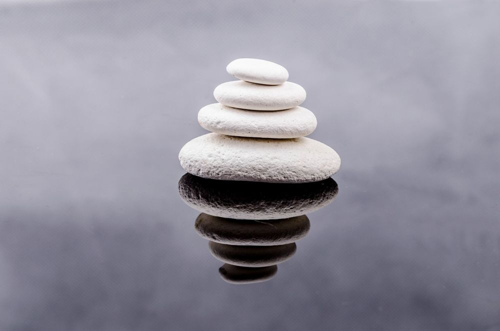 Stones with misty background