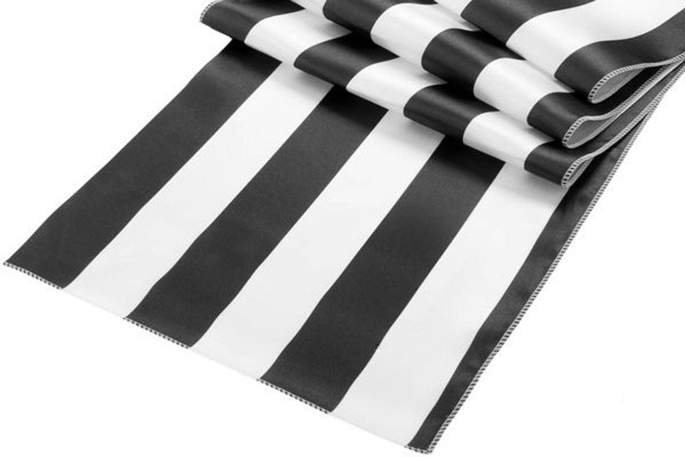 black/white strip satin table runner