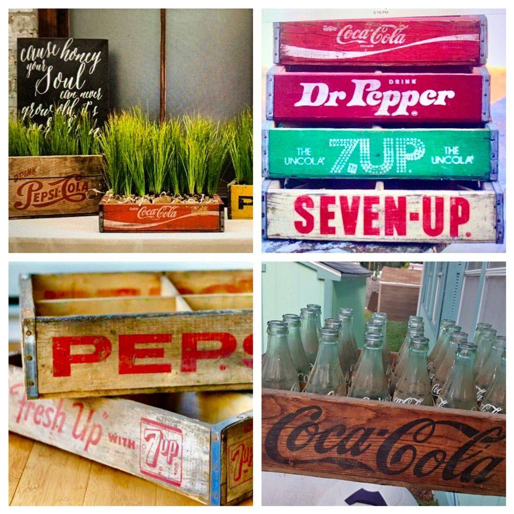 Vintage wood Soda crates pepsi,coca cola, 7-up,Dr, Pepper and more to rent