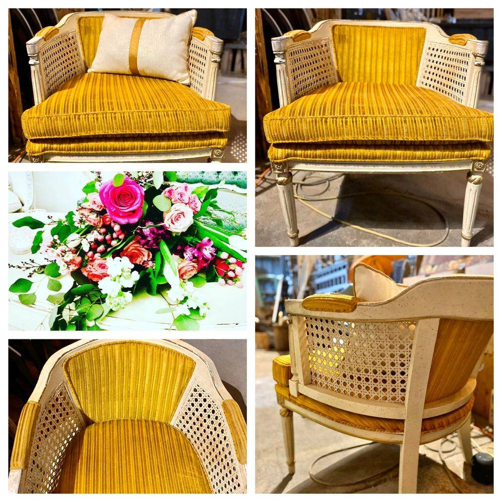 White vintage cane back with Yellow velour fabric chair to rent