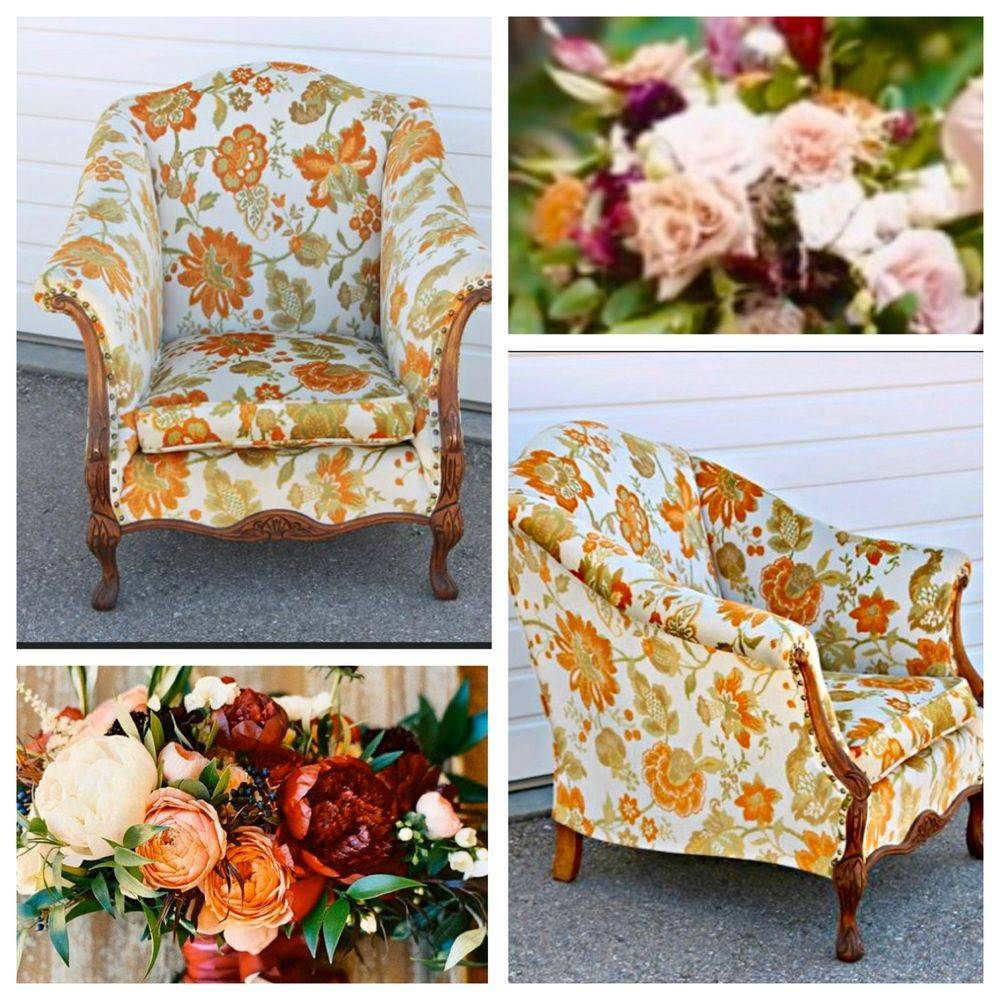 Vintage Floral wood trim chair