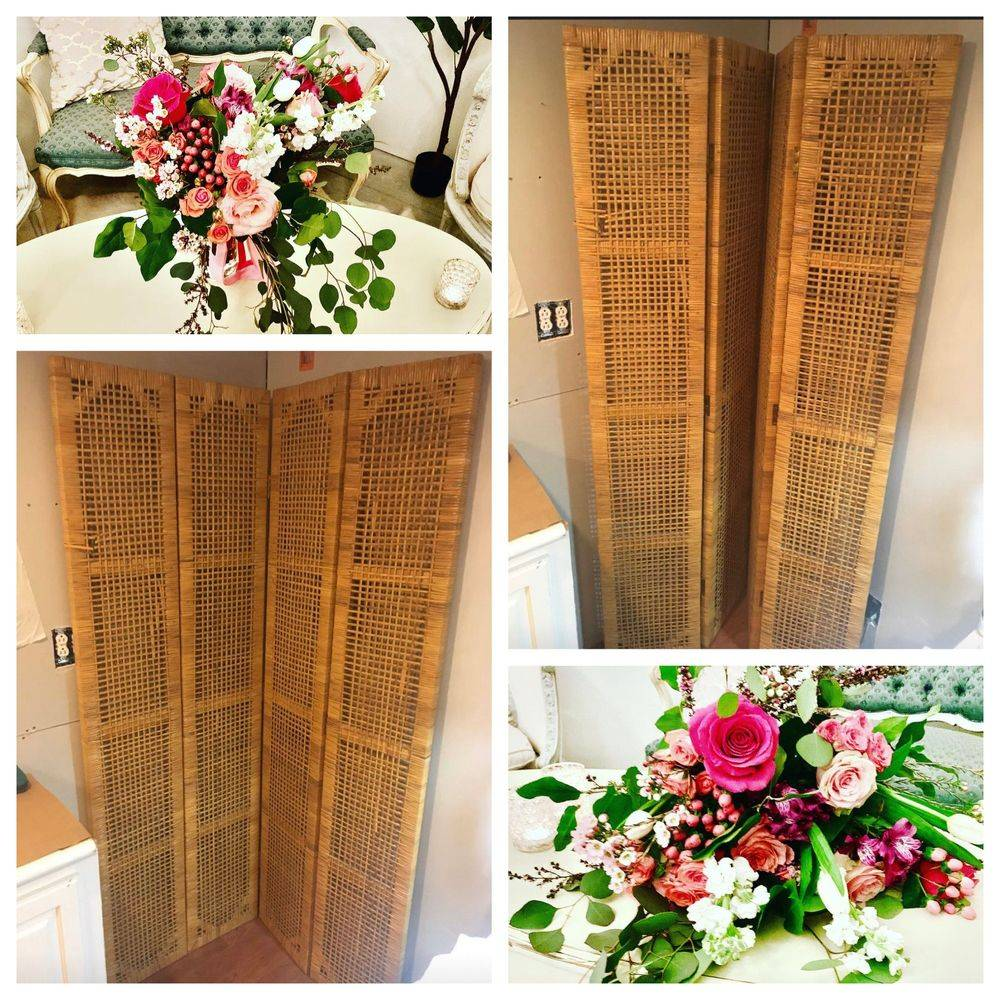 Boho Wicker back drop screen to rent 7 foot tall