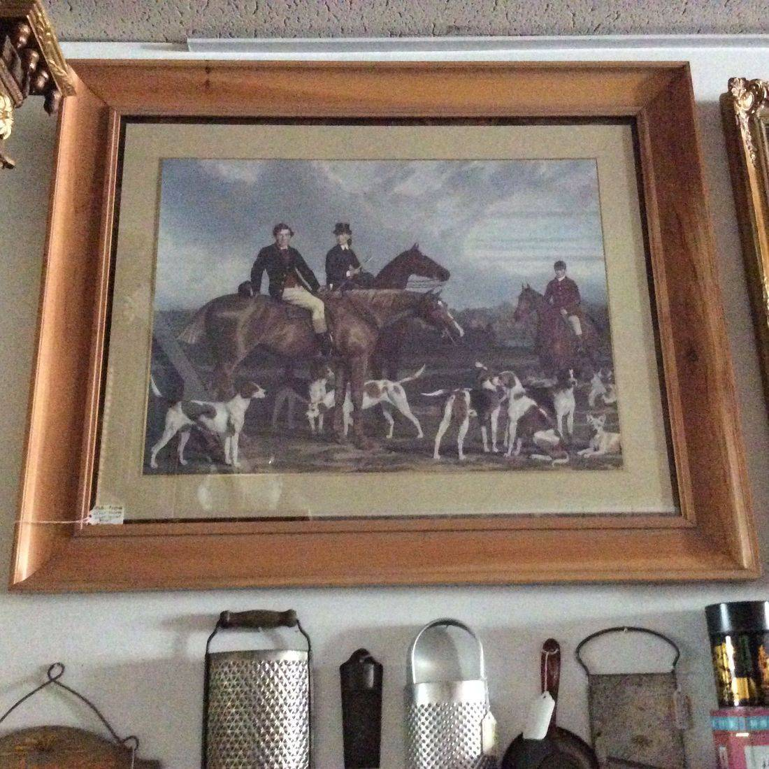 "Framed Hunt Scene Print 24"" X 29""   $110.00"