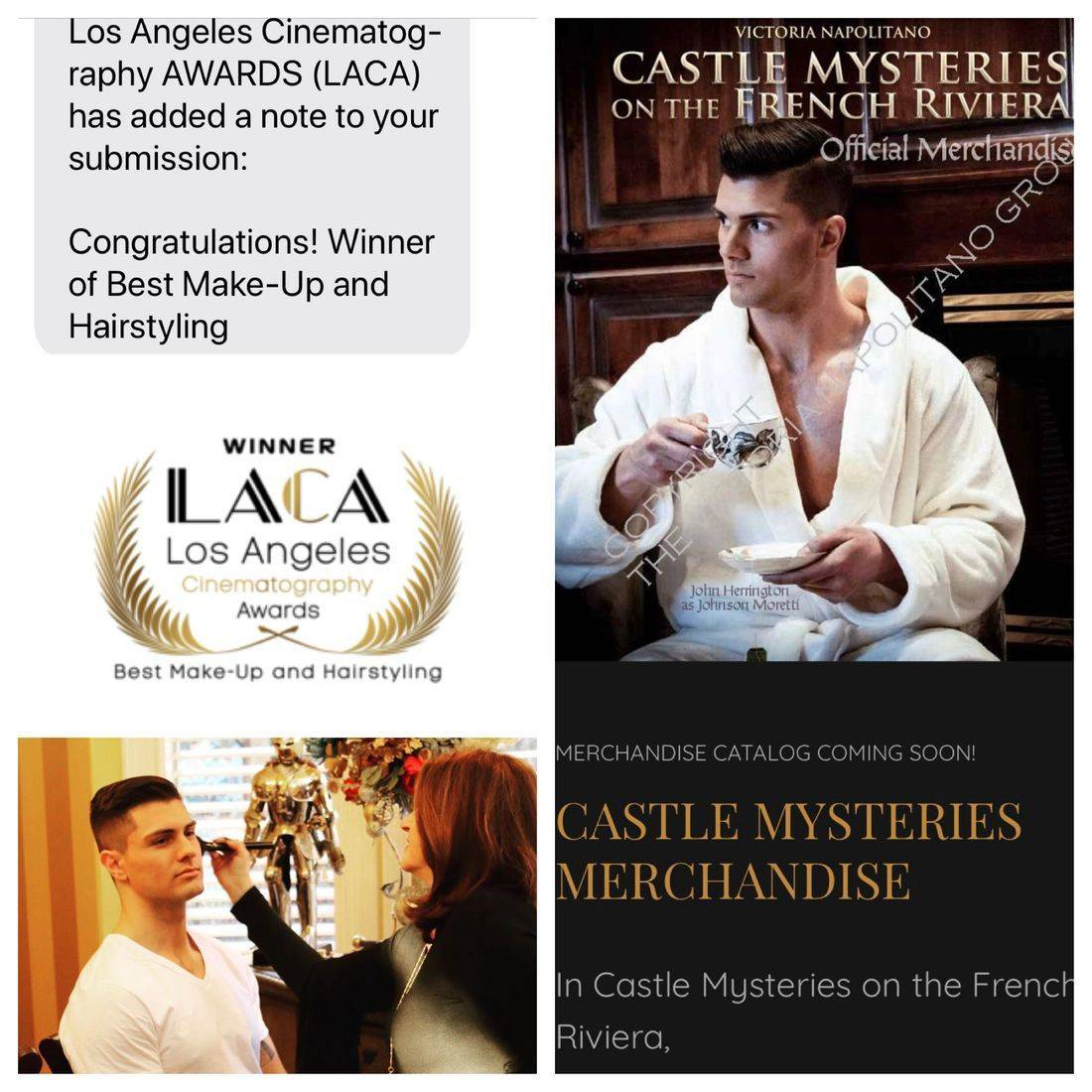 Yolanda Thayermobile makeup& hair artist for Castle Mysteries of the French Rivera