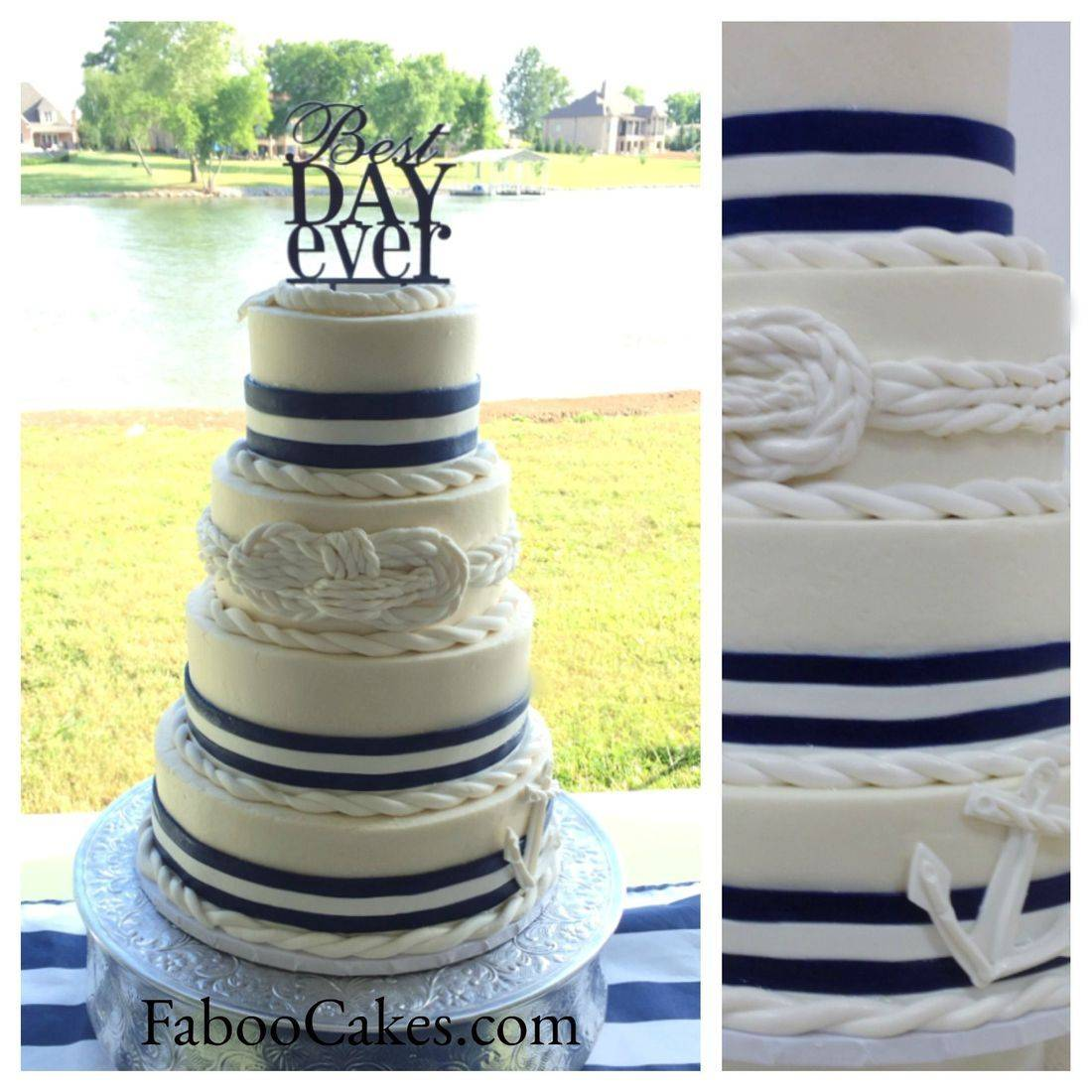 Nautical wedding cake navy blue and white anchor ropes knots