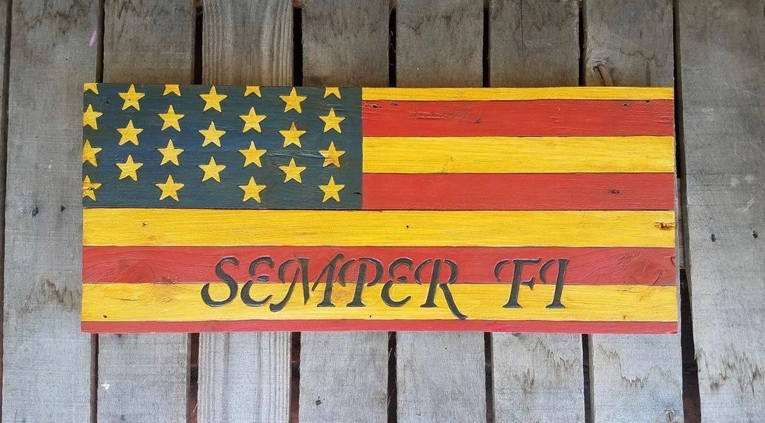 American Flag Handmade Reclaimed Pallet Wood Military Sign Semper Fi