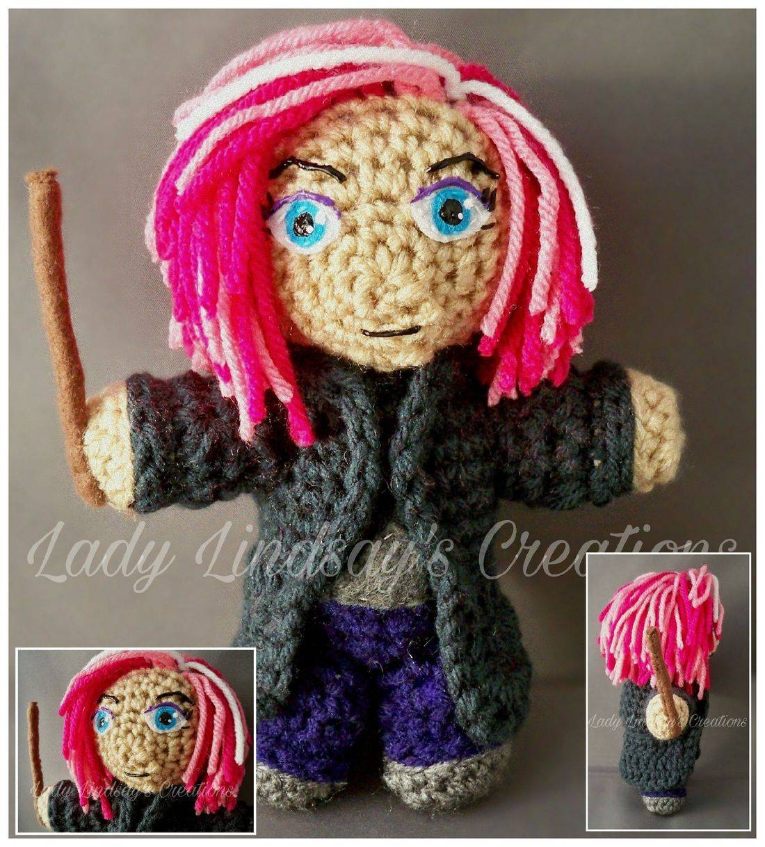 Nymphadora Tonks, Tonk, Harry Potter, Witch, Wizard, Amigurumi, Plush, Crochet, handmade, Shop Small, Etsy, nerd, geek, kawaii, otaku, anime, fantasy, Magic, handmade