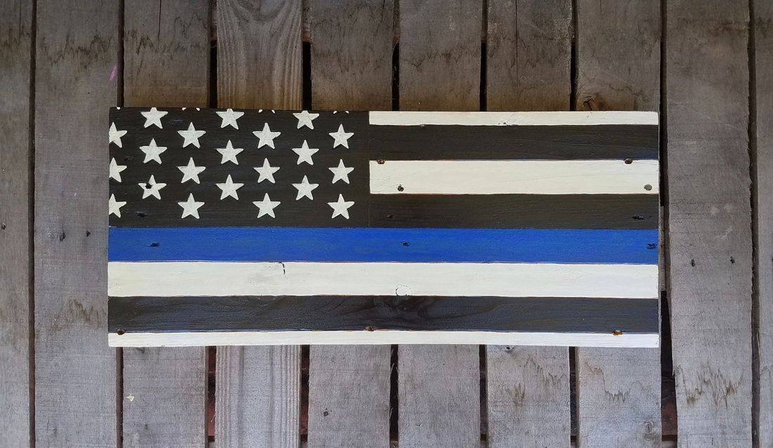 American Flag Handmade Reclaimed Pallet Wood Police Blue Lives Sign