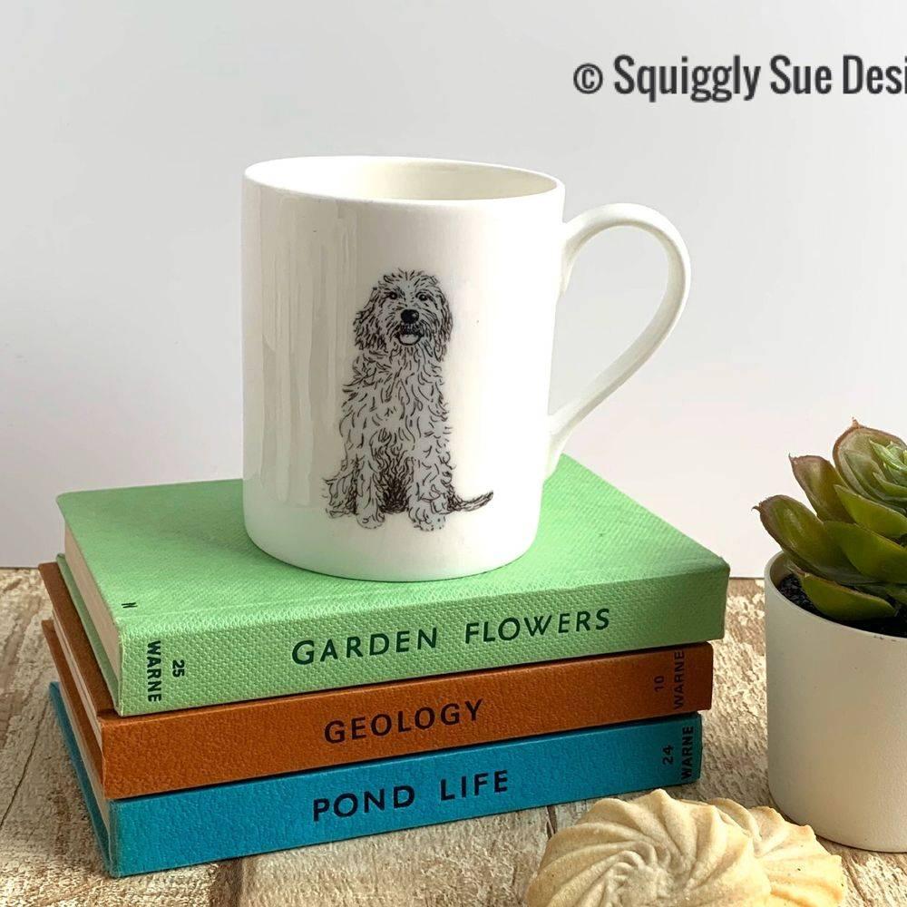 Cockerpoo dog Mug Cup from pen & ink sketch