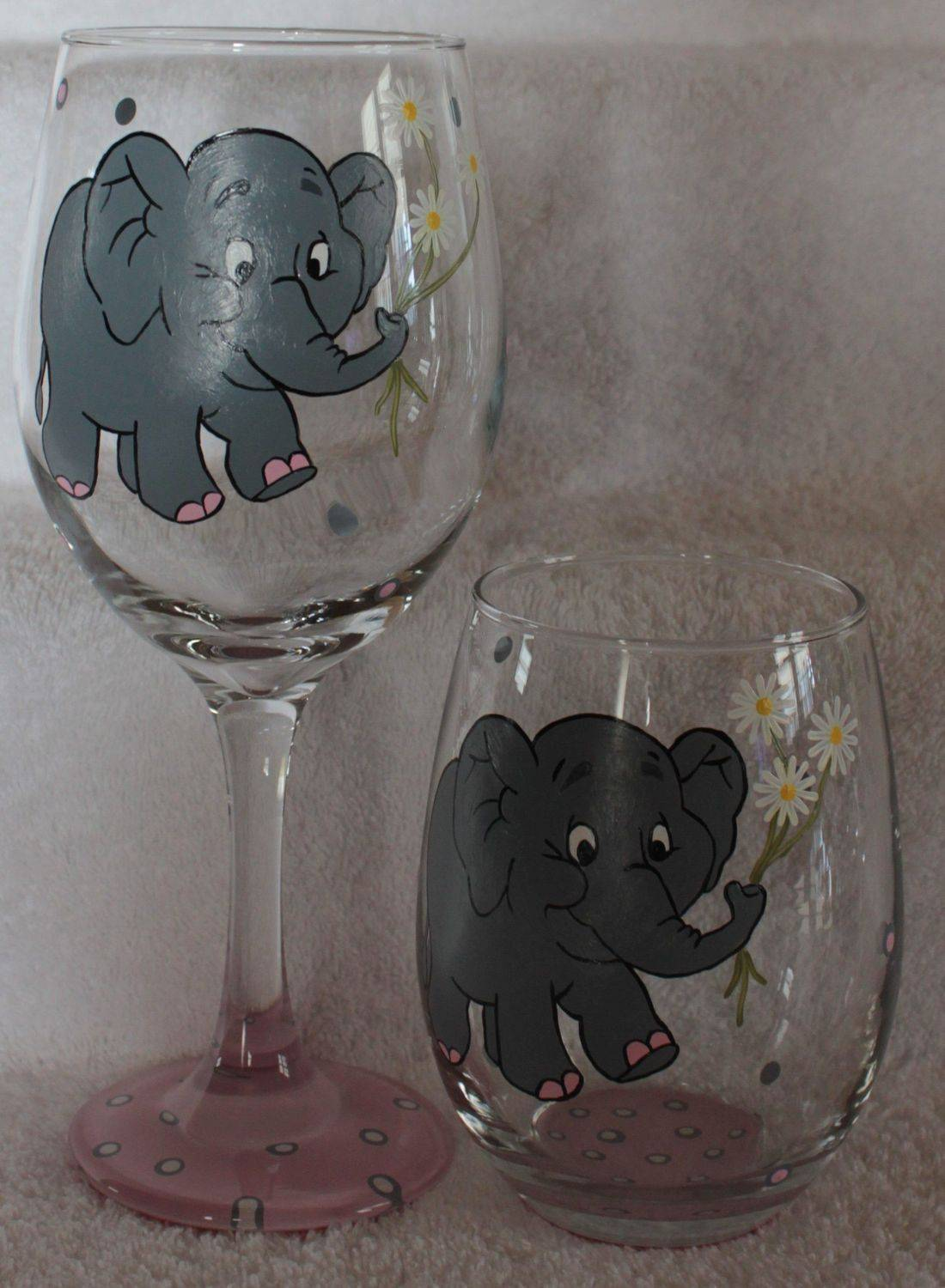 elephant wine glass, elephant stemless glass