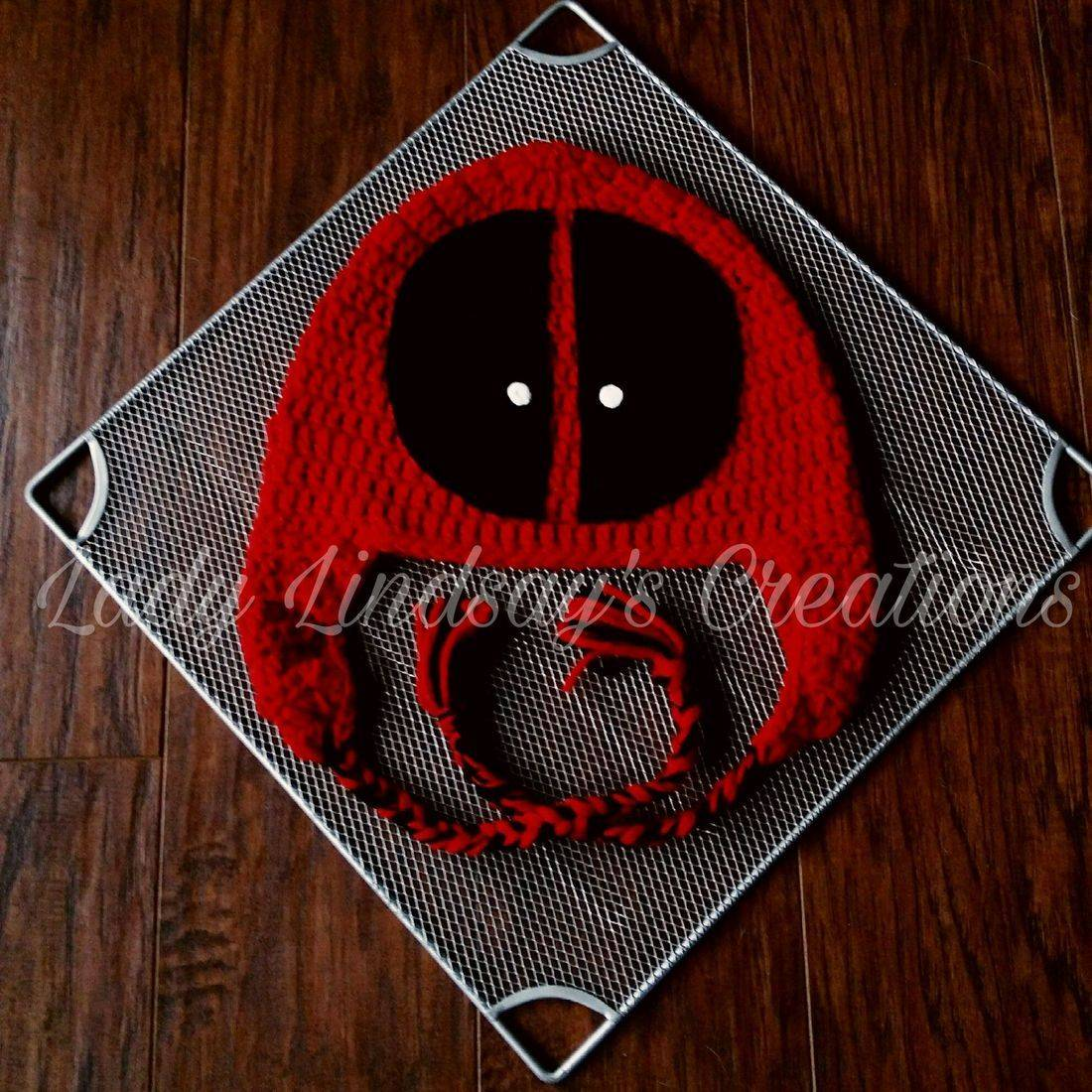 Deadpool, Mercenary, Marvel, Comicbook, beanie, hat, crochet, kawaii, anime, Etsy, handmade, nerd, geek, otaku