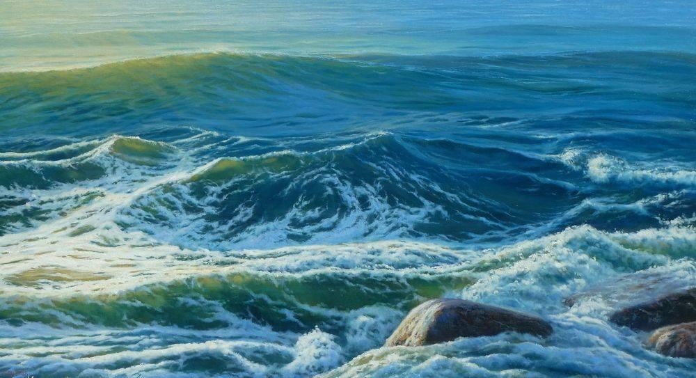 Ocean Waves Surf White Water Oil Painting