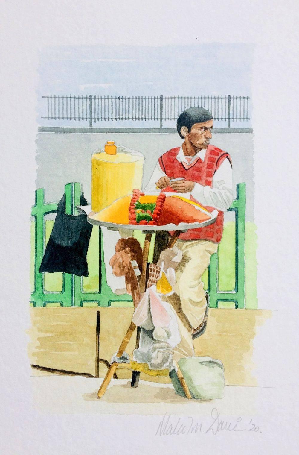 Delhi - India - Streetside Food Seller (Watercolour) : SOLD