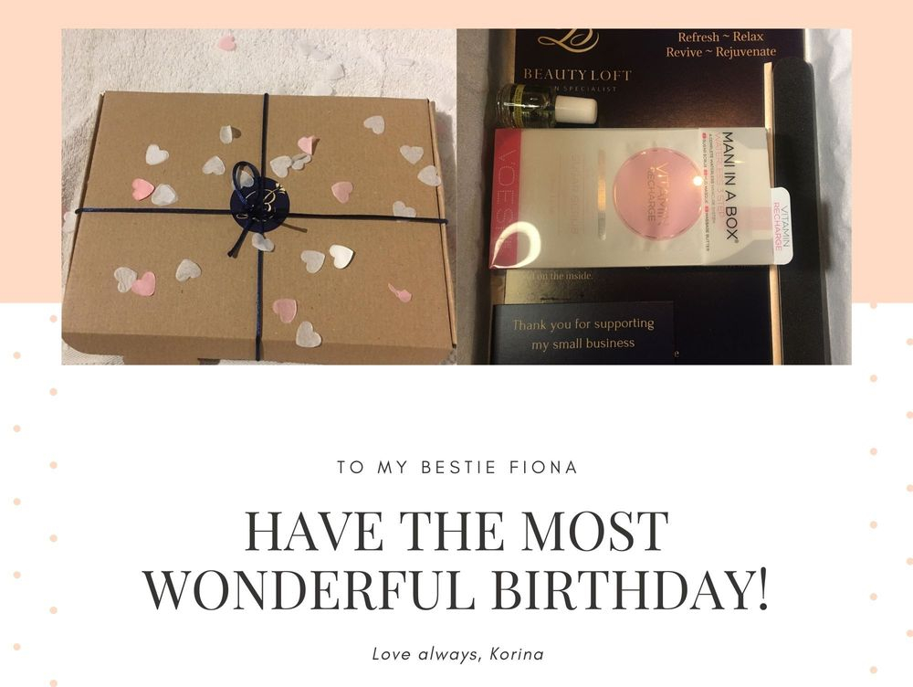 birthday gifts, pamper, postal boxes, pamper boxes, wellbeing boxes, mani in a box