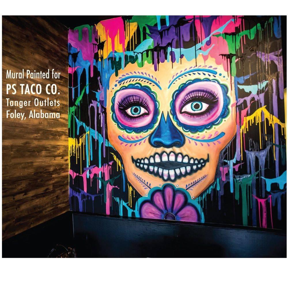 Abstracted Sugar Skull Mural at PS Taco