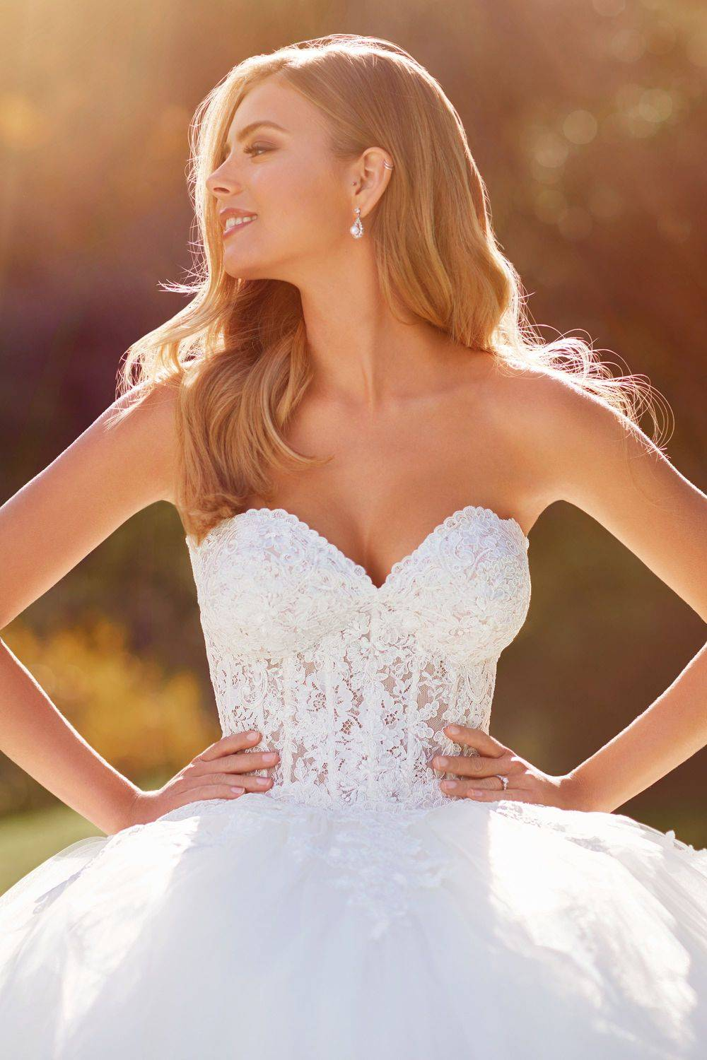 Princess ballgown lace and tulle wedding dress