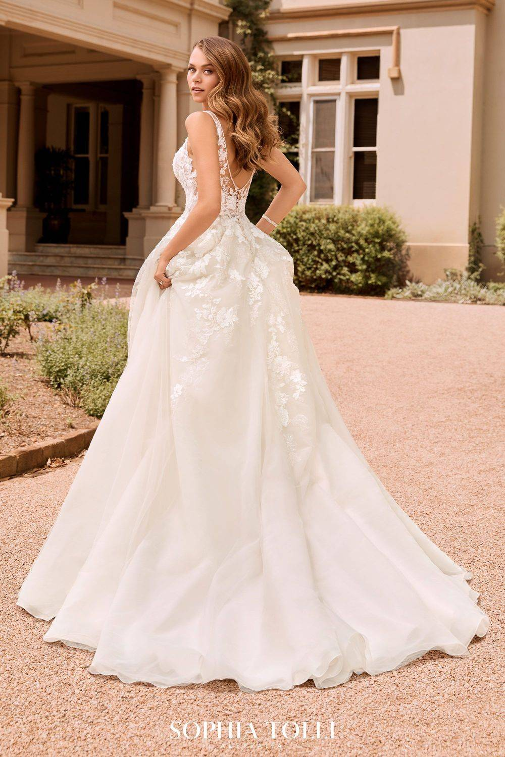 tulle and lace wedding dress, pretty, lace up a-line wedding dress