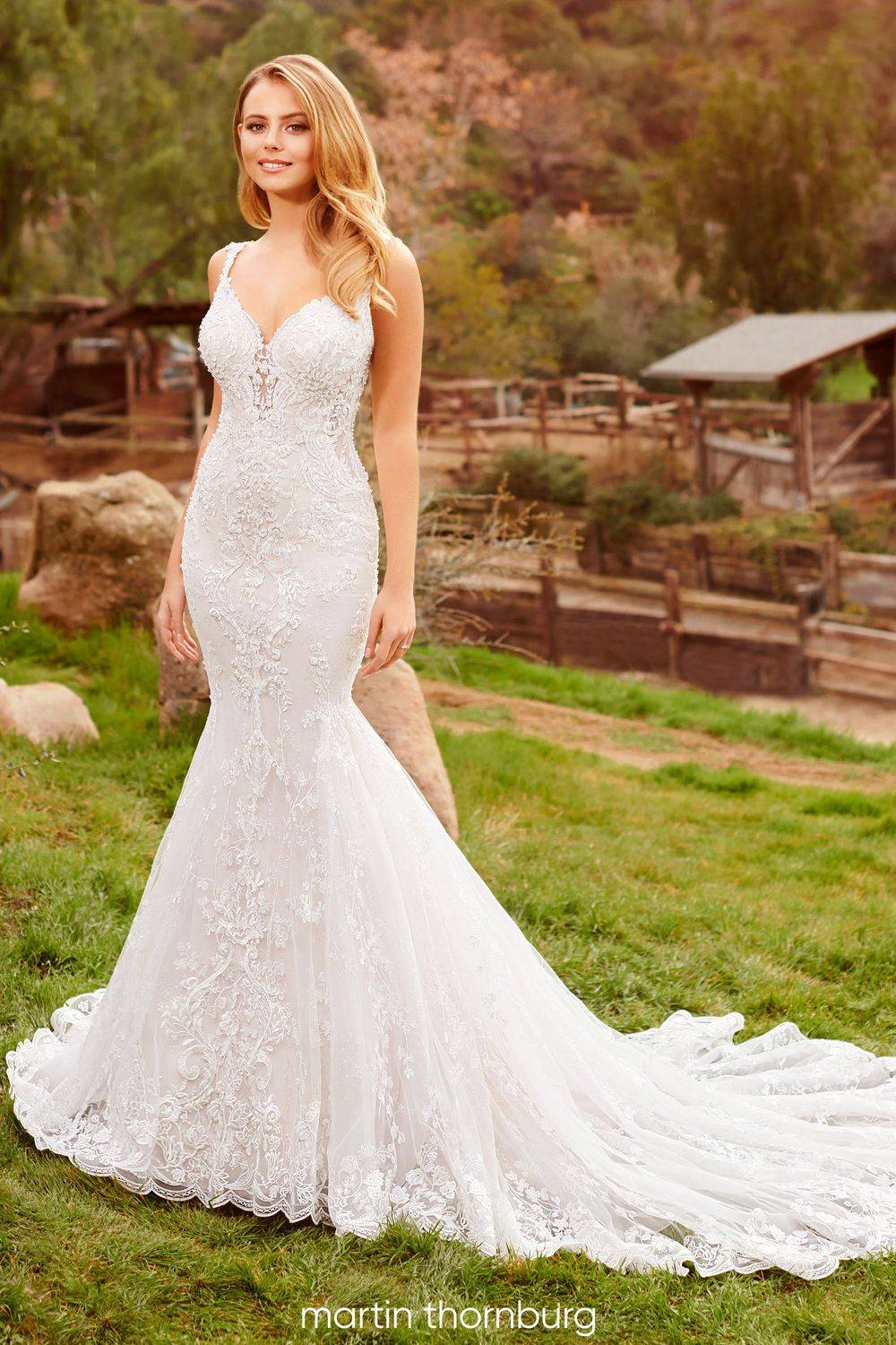 Fitted, sexy wedding dress, lace wedding dress with straps, sweetheart neckline, long train, sparkly wedding dress, dipped back wedding dress